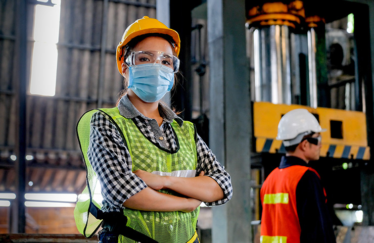 Worker with mask on